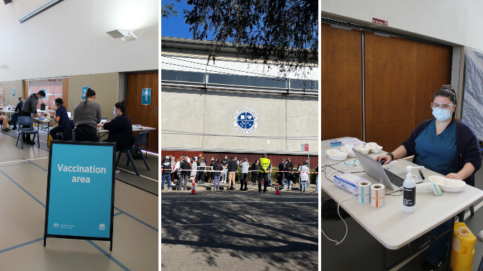 'The only way out': Hundreds line up at All Saints Grammar gym in Belmore to get vaccinated