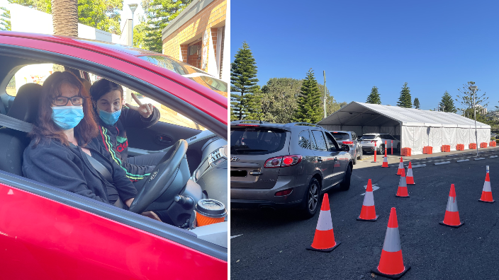 'Happiest queue in Belmore': Hundreds visit Sydney's first drive through vaccination clinic